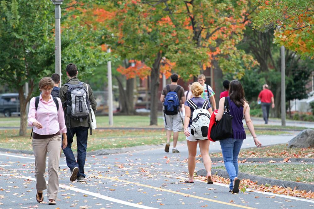 The leaves are changing at the sprawling University of Massachusetts campus in Amherst. (Andrew Phelps/WBUR)