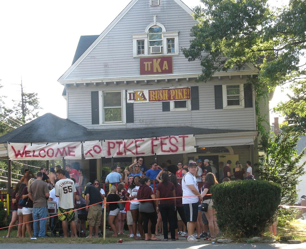 A fraternity party at Pi Kappa Alpha house on N. Pleasant Street in Amherst (Deborah Becker/WBUR)