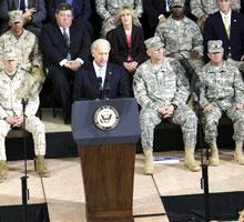 Vice President Joe Biden speaks in Baghdad, Sept. 1, 2010. (AP)
