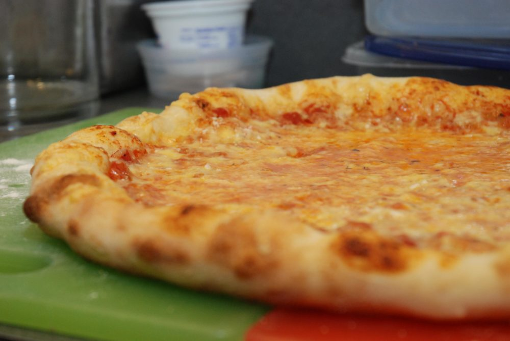 The product of my revised recipe for NY-style pizza at home (Jesse Costa/WBUR)