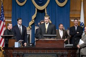 Chris Nowinski speaks at the State House last spring