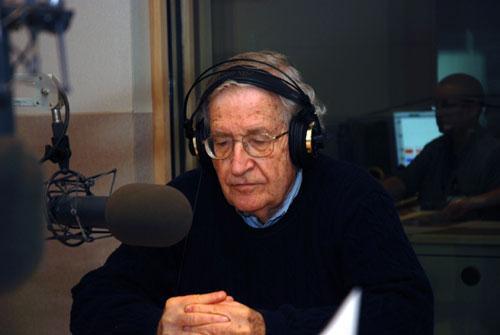 Noam Chomsky at the On Point studio, Sept. 28, 2010 (WBUR's Jesse Costa)