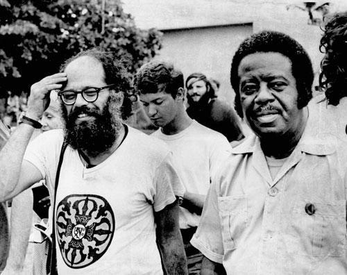 Allen Ginsberg, left, and Rev. Ralph David Abernathy in Miami Beach Fla. where they stayed in tents during the Democratic National Convention in July 1972. (AP)