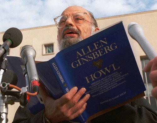 """Poet Allen Ginsberg reads his poem """"Howl"""" outside the U.S. Court of Appeals in Washington, 1994. (AP)"""