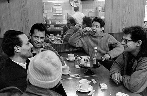 From left to right: Larry Rivers, Jack Kerouac, David Amram, Allen Ginsberg, Gregory Corso, mid-1950s (John Cohen/Hulton Archive)