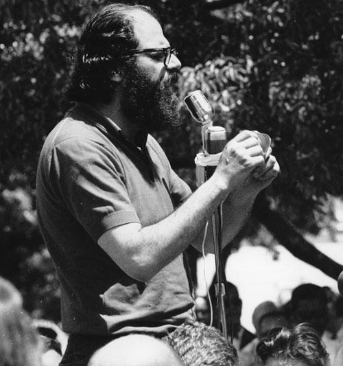 Allen Ginsberg at a protest rally in Berkley, Ca., 1965. (AP)