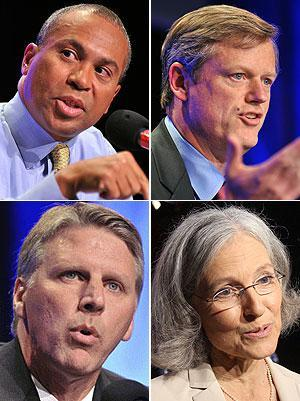 The candidates for governor, from top-left, clockwise: Gov. Deval Patrick, Charlie Baker, Jill Stein and Tim Cahill. (AP)