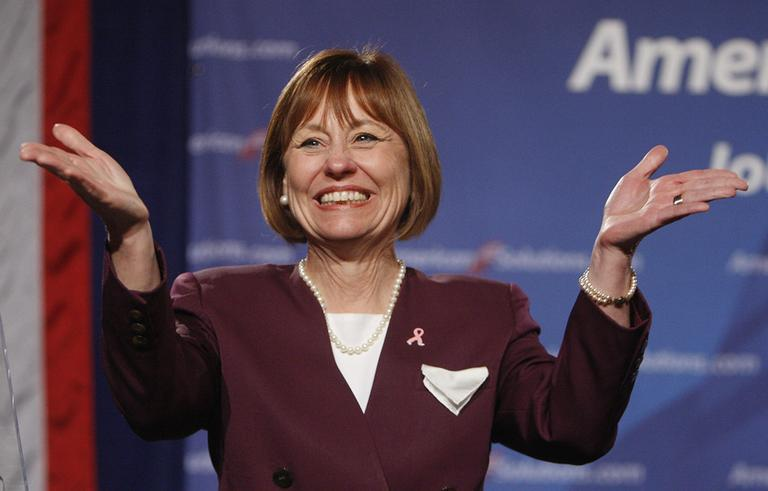 Nevada Reblican Senate candidate Sharron Angle speaks to supporters at a rally Thursday, Oct. 21, 2010 in Las Vegas. (AP)