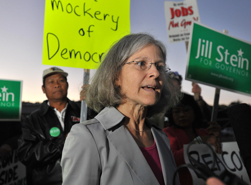 In this Sept. 14, 2010 file photo, gubernatorial candidate Jill Stein of the Green-Rainbow Party speaks to a reporter after she was excluded from a debate in Braintree. (AP)
