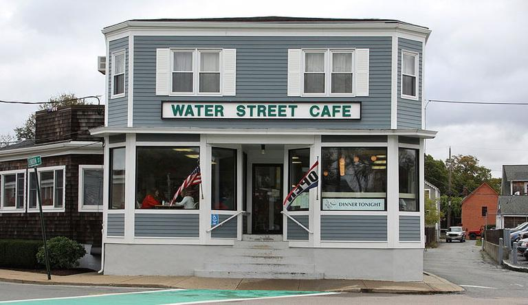 On Monday, Nov. 1 — the day before important Election Day — WBUR's Morning Edition heads to Plymouth, a bellwether town in the open 10th Congressional District. Water Street Cafe is WBUR's broadcast location. (Kirk Carapezza for WBUR)