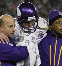 The Minnesota Vikings' Brett Favre after a hit to the chin during an NFL game, Oct. 31, 2010. (AP)