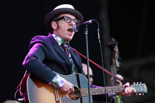 Elvis Costello performing at the 'Hard Rock Calling 2010' event in London, June 27, 2010. (AP)