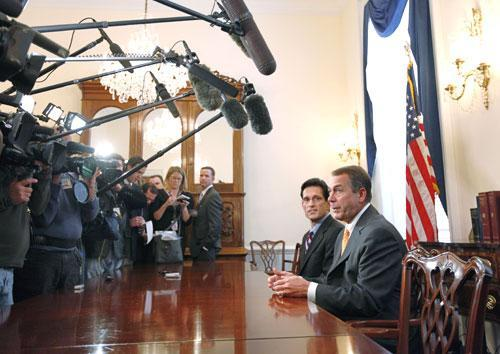House Republican leader John Boehner of Ohio, right, accompanied by House GOP Whip Eric Cantor of Va., on Capitol Hill, Nov. 3, 2010. (AP)