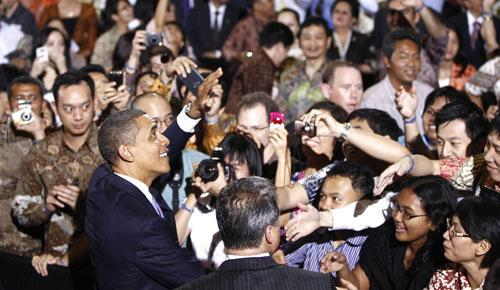 President Barack Obama at the University of Indonesia in Jakarta, Indonesia, Nov. 10, 2010. (AP)
