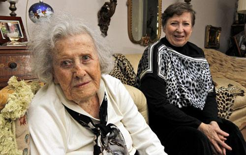 Harriet Butler, 99, left, and her daughter Marcia Savarese, 73, at their home in Vienna, Va., Nov. 8, 2010. The National Transportation Safety Board held a recent forum to understand the safety risks that older drivers face. (AP Photo/Alex Brandon)