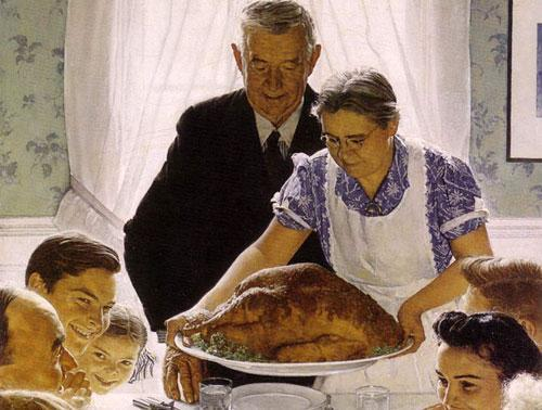 Norman Rockwell's American Thanksgiving table.