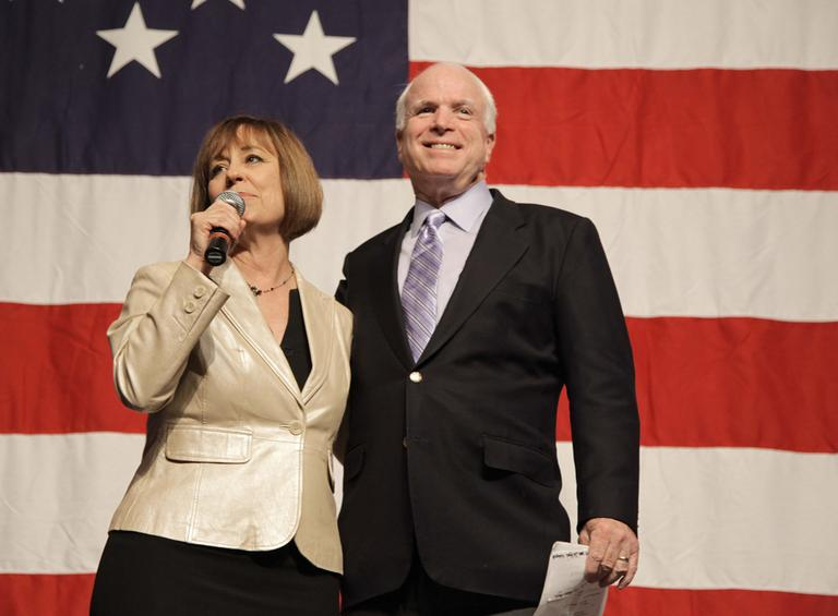 Nevada U.S. Senate candidate Sharron Angle, left, introduces Arizona Sen. John McCain during a Get Out the Vote rally Friday, Oct. 29, 2010, in Las Vegas. (AP)