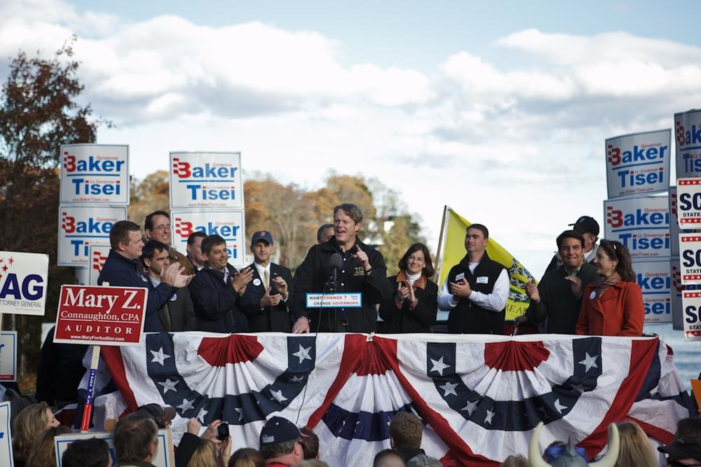 Charlie Baker at a campaign rally, Sunday, Oct. 31. (Nick Dynan for WBUR)