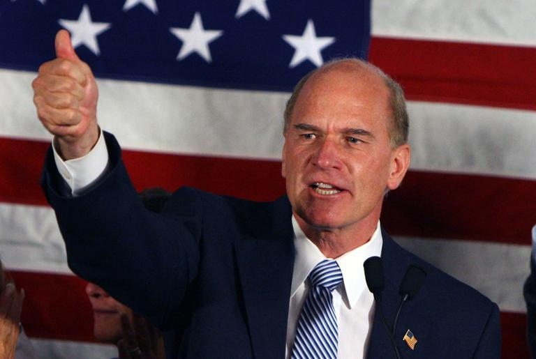 Keating celebrates his victory in Quincy on Tuesday night. (AP)