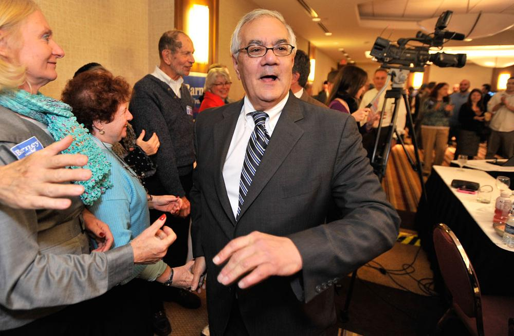 U.S. Rep. Barney Frank, D-Mass., greets supporters celebrating his re-election in the 4th Congressional District at a party in Newton on Tuesday. (Josh Reynolds/AP)