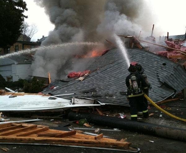 The house that exploded at the corner of Danny Rd. and Reynold Rd. in Hyde Park. (Boston Fire twitter)