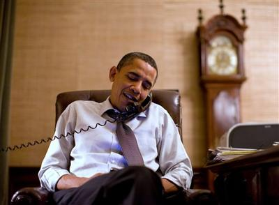 In this image released by the White House, President Barack Obama makes an election night phone call to Rep. John Boehner, R-Ohio, who will most likely be the next House Speaker, from the Treaty Room in the White House. (AP)