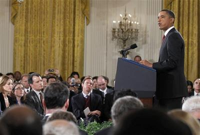 President Barack Obama addresses reporters during a news conference in the East Room of the White House in Washington. (AP)