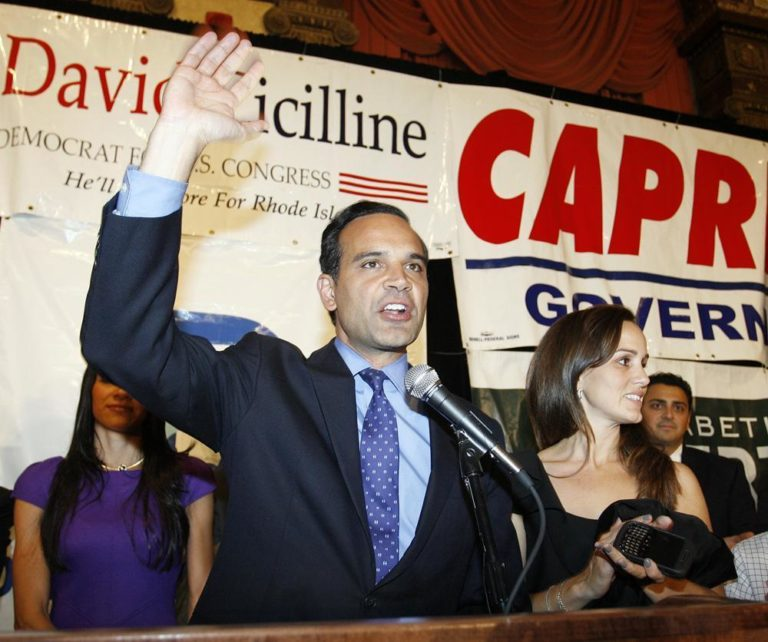 Rhode Island Democratic gubernatorial candidate Frank Caprio, left, with his wife Gabriella (AP)