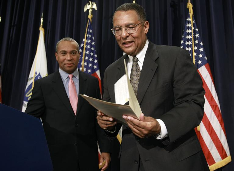 Gov. Deval Patrick, left, and Massachusetts Supreme Court Associate Justice Roderick Ireland at a news conference announcing Ireland's nomination as Chief Justice of the court. (AP)