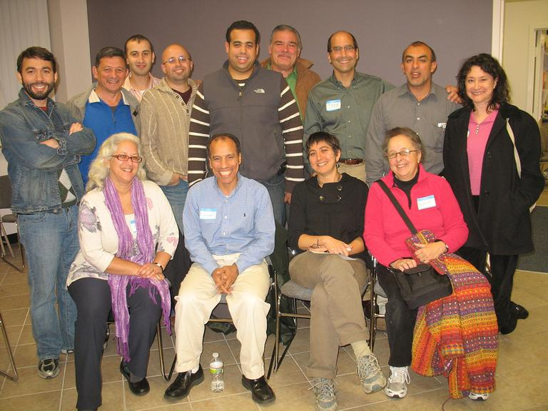 Members of the Muslim American Civic and Cultural Association and Temple Hillel B'nai Torah. (Martha Bebinger/WBUR)