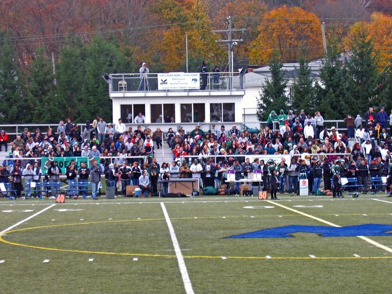 More than 1000 fans turned out for Post's first home game at Municipal Stadium in Waterbury, Conn. (Doug Tribou/WBUR)