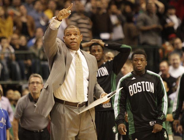 Boston head coach Doc Rivers calls a play during the second half of the game in Dallas on Monday. Dallas won 89-87. (AP)