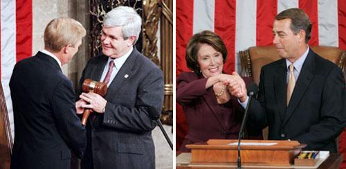Left: Newly elected House Speaker Newt Gingrich, right, with House Minority Leader Richard Gephardt, Jan. 4, 1995. Right: Newly elected Speaker of the House Nancy Pelosi, with House Minority Leader John Boehner, Jan. 4, 2007. (AP)