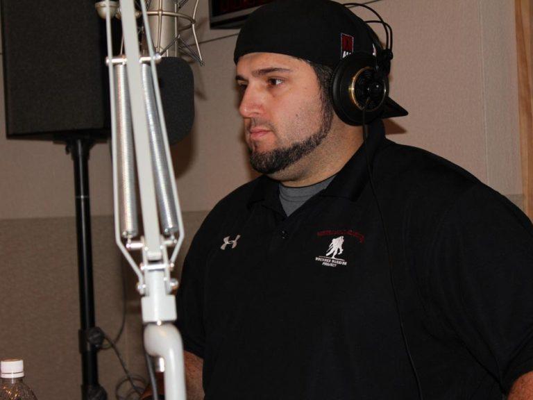 Steve Mandile, an army veteran coping with PTSD, in WBUR's studios (Jeremy Bernfeld for WBUR)