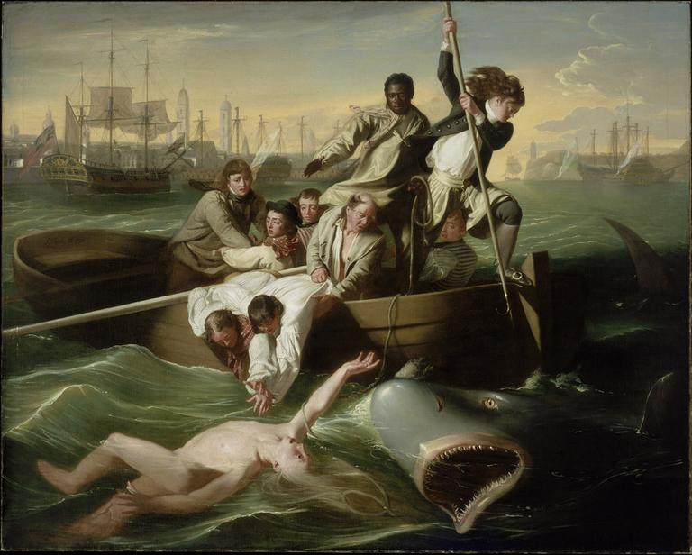 """Sharks don't have lips, but that doesn't stop this enormous painting from quickening your pulse,"" Smee says. (""Watson and the Shark"" by John Singleton Copley, courtesy of the MFA)"