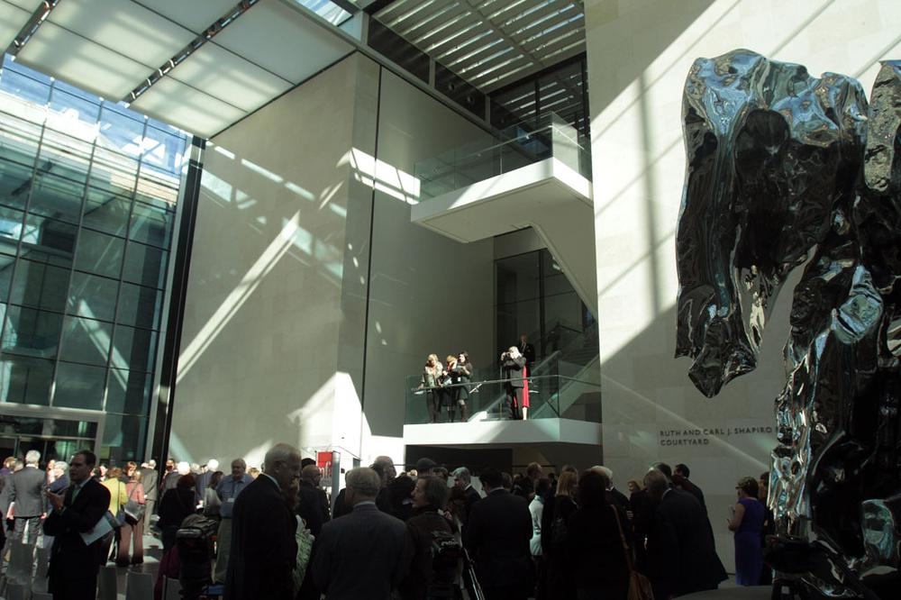 Inside the new Ruth and Carl J. Shapiro Family Courtyard at the entrance to the Art of the Americas wing at the Museum of Fine Arts, Boston (Andrew Phelps/WBUR)