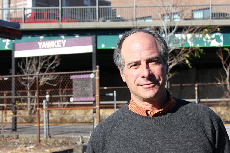 Newton developer John Rosenthal will break ground Monday on the state's first solar-powered transit station. (Lisa Tobin/WBUR)