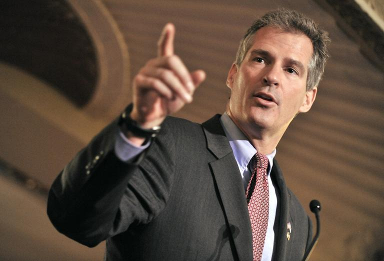 Republican Sen. Scott Brown addressed the Greater Boston Chamber of Commerce in Boston on Monday. (AP)