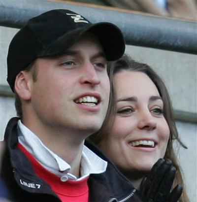 Britain's Prince William and Kate Middleton watch a rugby match in London. According to an announcement by Clarence House in London, the couple are to wed in 2011. (AP)