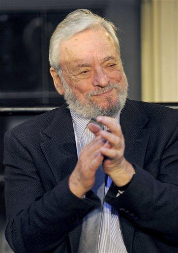 Stephen Sondheim at a ceremony at the Stephen Sondheim Theatre in Times Square. (AP)