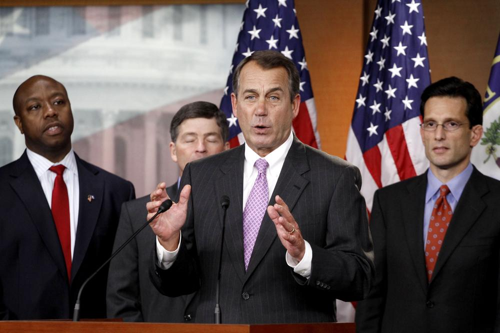 House Speaker in-waiting John Boehner of Ohio, second from right, at a news conference with other members of the incoming Republican leadership team. (AP)