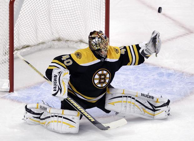 Boston goalie Tuukka Rask, of Finland, makes a save against the Panthers during the first period of their NHL hockey game in Boston on Thursday. (AP)