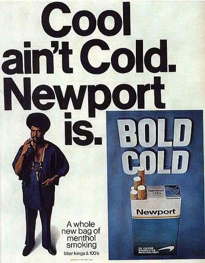 The prosecution says Newport ads like this targeted young black smokers.