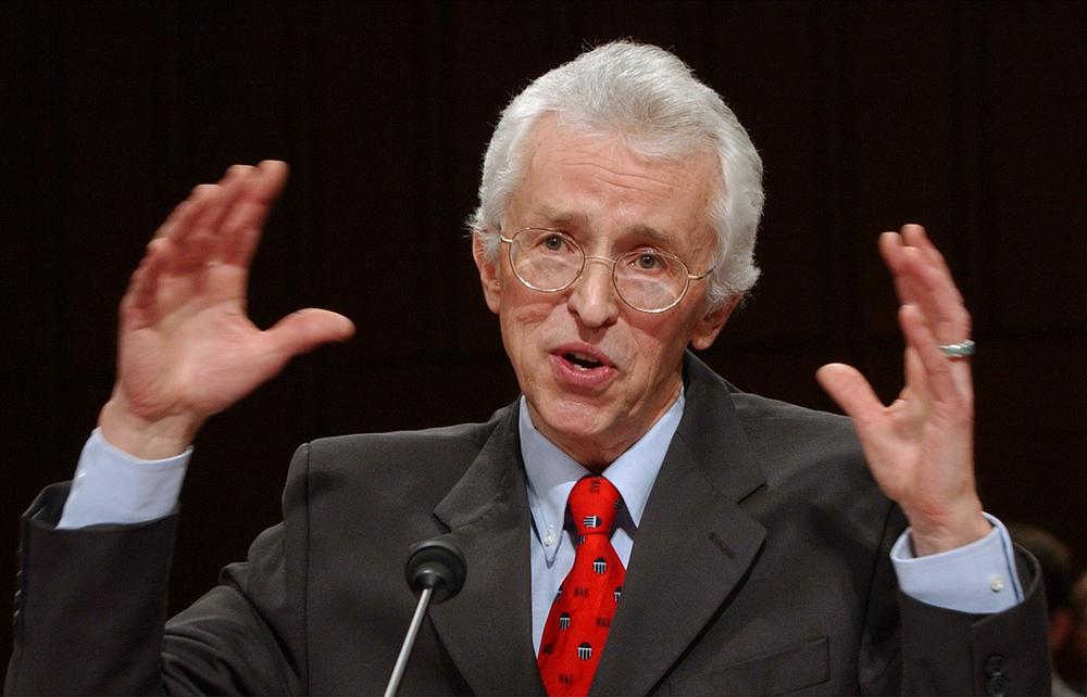 FILE - In this Jan. 21, 2004  file photo, Doctor Siegfried Hecker, senior fellow at Los Alamos National Laboratory, briefs the Senate Foreign Relations Committee on Capitol Hill in Washington. (AP Photo/Dennis Cook, File)