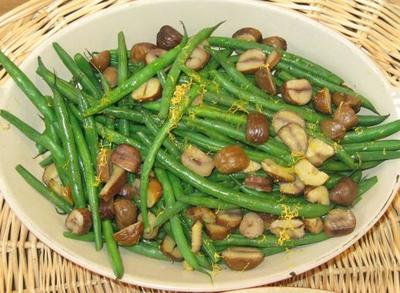 Thin Green Beans with Meyer Lemon and Roasted Chestnuts (Kevin Sullivan)