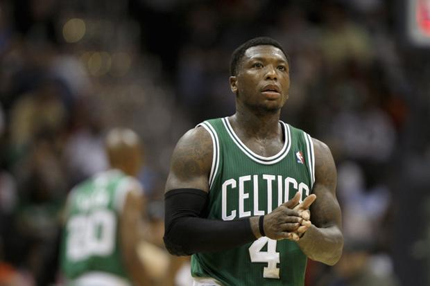 Boston point guard Nate Robinson walks down the court during the game against Atlanta ons Monday in Atlanta. (AP)