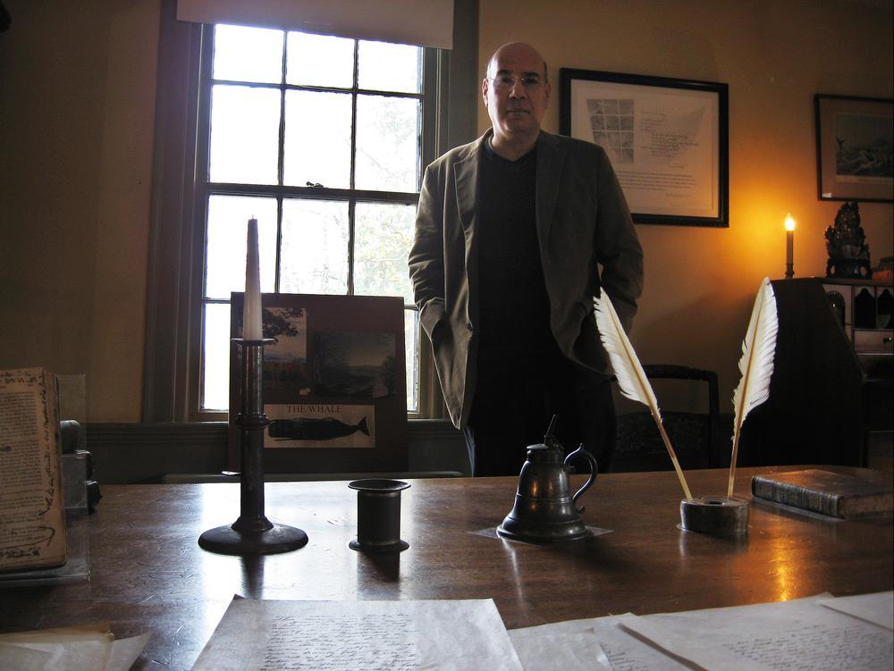 Author Jay Parini, in Herman Melville's Pittsfield farmhouse (Andrea Shea/WBUR)