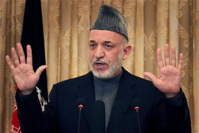 Afghan President Hamid Karzai speaks during a press conference in Kabul, Afghanistan. (AP)