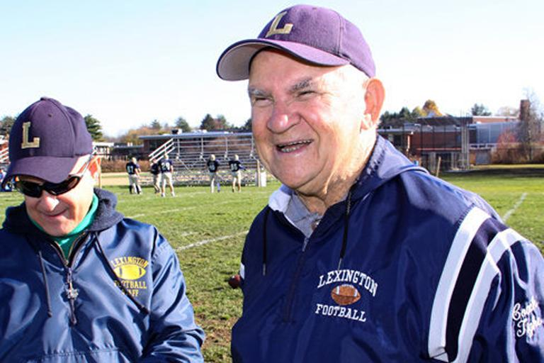 Bill Tighe, right, is the oldest high school football coach in the country. (Facebook)