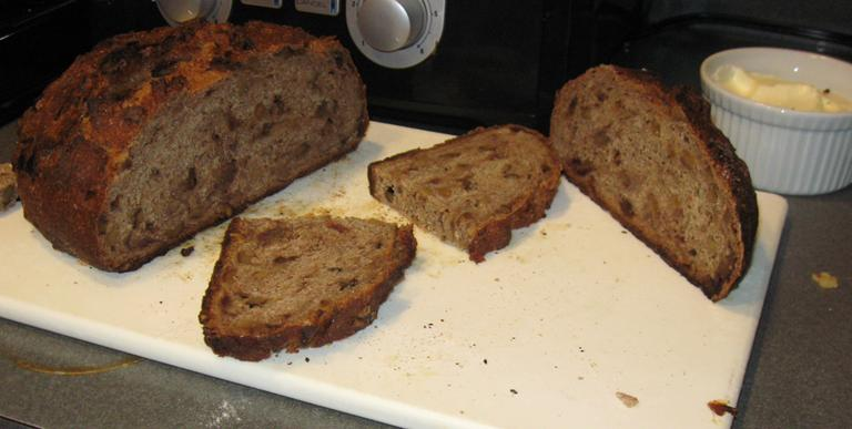The finished product, walnut-date boule (Jason Breslow/WBUR)